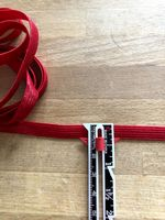 Thin elastic - Satin  Red -10mm width [2 metre lengths]